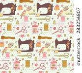 lovely needlework seamless... | Shutterstock .eps vector #283256807