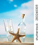 traditional greek ouzo at the... | Shutterstock . vector #283260305