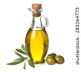 Small photo of Extra olive oil bottle and green olives with leaves isolated on a white background