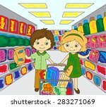 a boy and a girl are shopping... | Shutterstock .eps vector #283271069