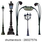 Retro Street Lamps Isolated On...