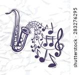 saxophone music concept sketch... | Shutterstock .eps vector #283276295