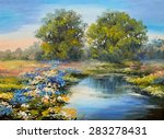 Oil Painting Landscape   River...