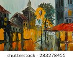 Oil Painting   Street In Rainy...