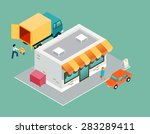 shop and delivery isometric 3d... | Shutterstock .eps vector #283289411