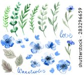 set of flowers painted in... | Shutterstock . vector #283296659