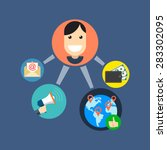 referral marketing concept.... | Shutterstock .eps vector #283302095