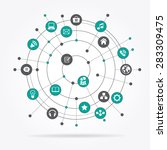 abstract computer network with... | Shutterstock .eps vector #283309475