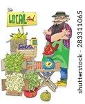 vendor of locally grown produce ... | Shutterstock .eps vector #283311065