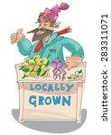 vendor of locally grown produce ... | Shutterstock .eps vector #283311071