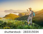Hike A Girl Backpacker On A...