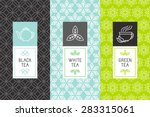 Stock vector vector set of design elements and icons in trendy linear style for tea package white black and 283315061