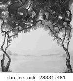 grey draw grape vine | Shutterstock .eps vector #283315481
