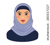Pretty Arabic Muslim Woman isolated on white background. Vector illustration