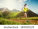 running woman. girl jogging on... | Shutterstock . vector #283320125