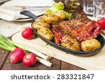 bacon rib and potatoes with... | Shutterstock . vector #283321847