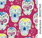 Sugar Skull Seamless Pattern O...