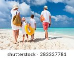 back view of a happy family at... | Shutterstock . vector #283327781