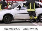 firefighters in action after... | Shutterstock . vector #283329425
