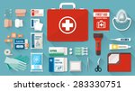 first aid kit box with medical... | Shutterstock .eps vector #283330751