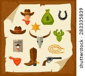 wild west cowboy objects and... | Shutterstock .eps vector #283335839