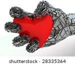 abstract 3d illustration of metal hand with red heart - stock photo