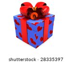 3d illustration of blue present box with red ribbons - stock photo