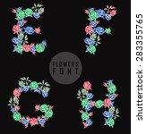 vector colorful flower font.... | Shutterstock .eps vector #283355765