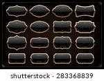 set of 16 blank golden vintage... | Shutterstock .eps vector #283368839
