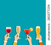 cheers hands vector poster with ... | Shutterstock .eps vector #283377254