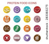 protein food long shadow icons  ... | Shutterstock .eps vector #283383275