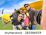 best friends taking selfie at... | Shutterstock . vector #283386929