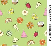 seamless pattern with fruit.... | Shutterstock .eps vector #283389191