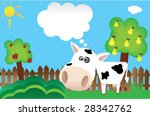 vector illustration of cute cow ... | Shutterstock .eps vector #28342762