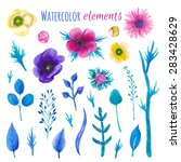 watercolor blossom floral set.... | Shutterstock .eps vector #283428629