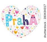 praha   prague heart shaped... | Shutterstock .eps vector #283434317