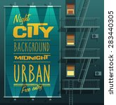 night city. banner on a wall.... | Shutterstock .eps vector #283440305