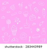 sweet set of food with ice... | Shutterstock .eps vector #283443989