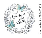 watercolor card save the date.  ... | Shutterstock .eps vector #283459919