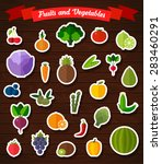 colorful flat fruits and... | Shutterstock .eps vector #283460291