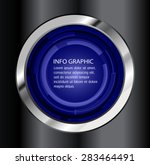 Dark Blue Light Circle Abstrac...
