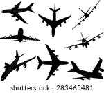 airplanes bw 2 vector silhouette | Shutterstock .eps vector #283465481