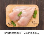 raw chicken breast fillets on... | Shutterstock . vector #283465517