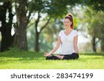 pretty woman doing yoga... | Shutterstock . vector #283474199