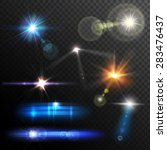 realistic lens flares beams and ... | Shutterstock .eps vector #283476437