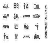 warehouse black icons set with... | Shutterstock .eps vector #283476491