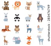 wild and home animals set of... | Shutterstock .eps vector #283476749