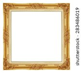 Small photo of The antique gold frame on the white background