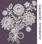 white lace. bouquet. violet... | Shutterstock .eps vector #283487855