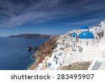 blue and white church of oia... | Shutterstock . vector #283495907